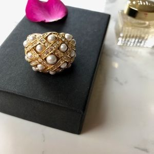 Gold Criss Cross Pearl and Cubic Zirconia Ring